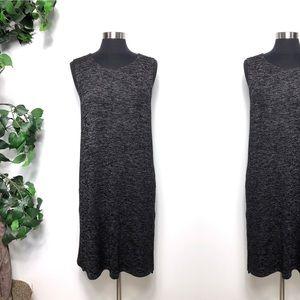 Garnet Hill Gray Black Knit Sleeveless Tunic Top L